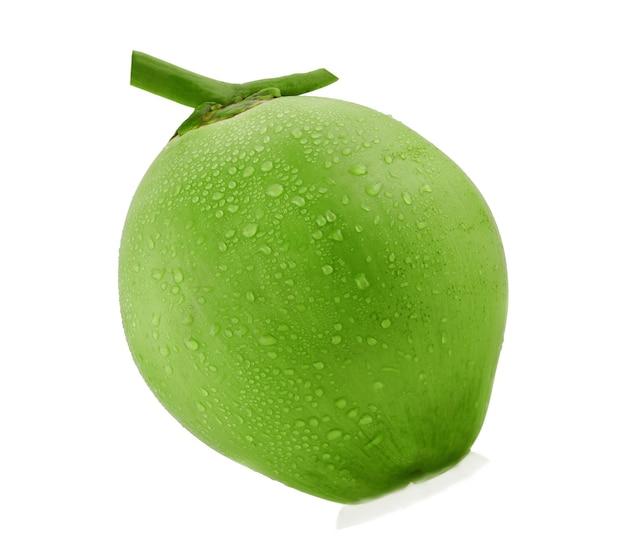 Капля воды зеленый кокос изолированные Premium Фотографии