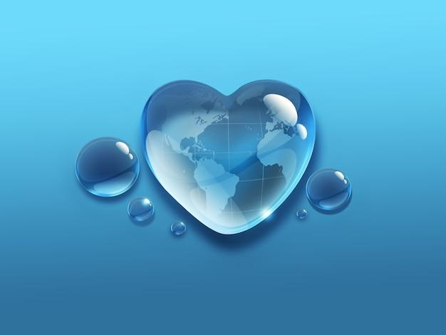 Капля воды в форме сердца с картой мира внутри