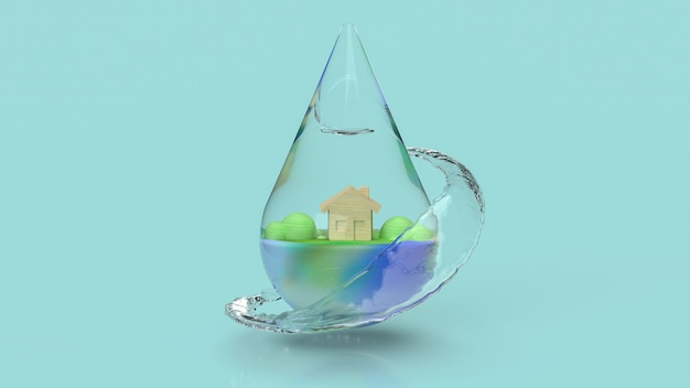 The water drop for world water day for holiday content  3d rendering.
