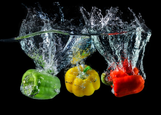 Water droping bell pepper or paprika.