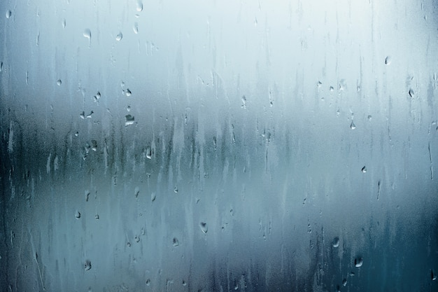 Water droplet texture background, rain falling from the sky and drop on glass rooftop