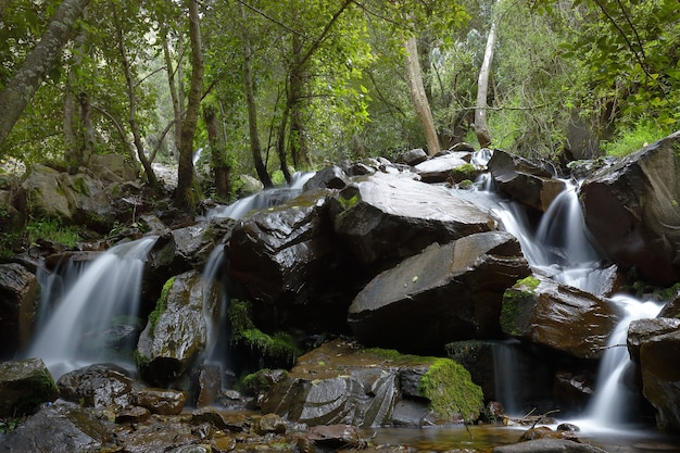 Water fall inside a ravine in the huancayo mountain range