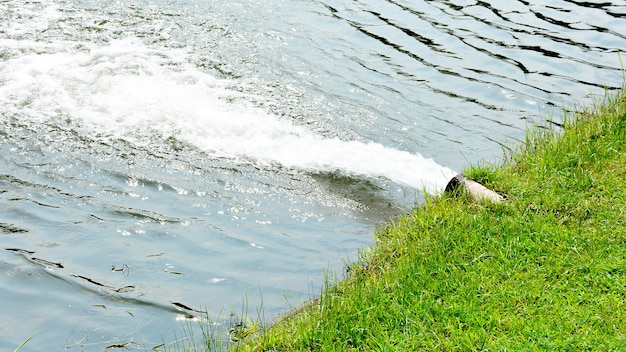 Water flow from the sewer into the river