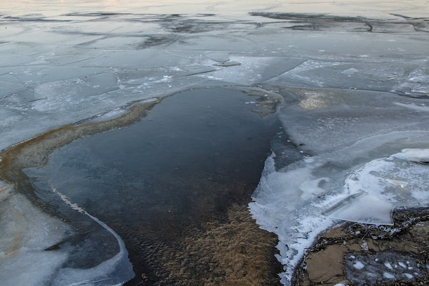 Water flowing between ice floes. the surface of a frozen river on a winter day.
