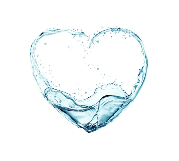 Water flowing into heart shapes
