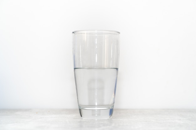 A water glass is half filled