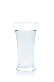 Water in a glass on white