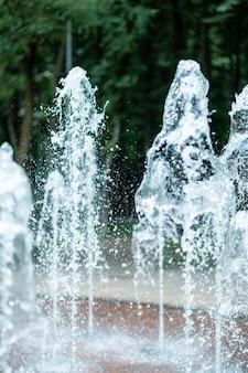 Струи воды фонтана на фоне зеленых деревьев в парке.