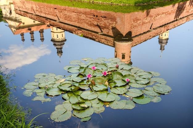 ネスヴィシ城の塔を映した庭の池の睡蓮。