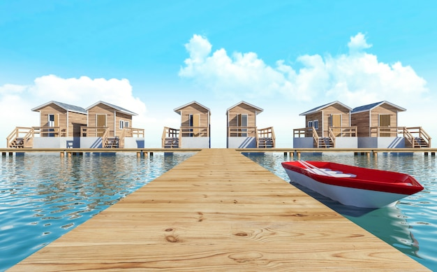 Over-water modern bungalow resort for vacation with boat, 3d rendering