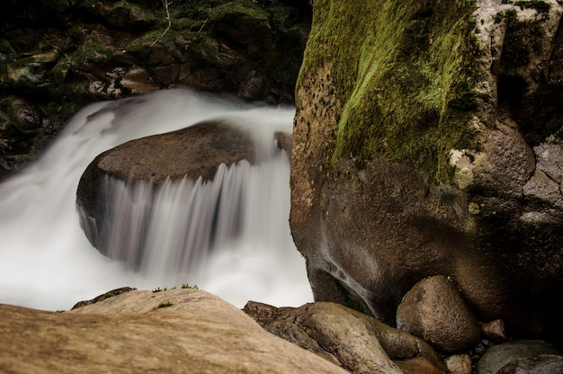 조지아의 아프로디테 온천에서 이끼 덮힌 돌 근처의 바위에서 떨어지는 산 강의 물