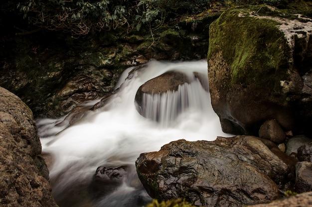 조지아의 아프로디테 온천에서 이끼 덮힌 돌 근처의 바위에서 떨어지는 야생 산 강의 물