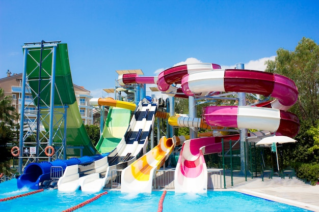 Water park with water slides in the open air