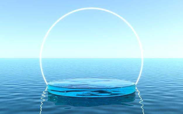 제품 디스플레이 용 물 받침대, 네온 프레임 배경의 액체 바닥. 3d 렌더링