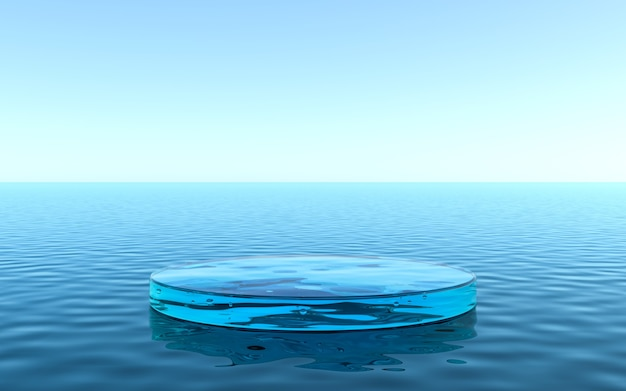 제품 전시용 물 받침대, 물에 반사되는 액체 바닥. 3d 렌더링