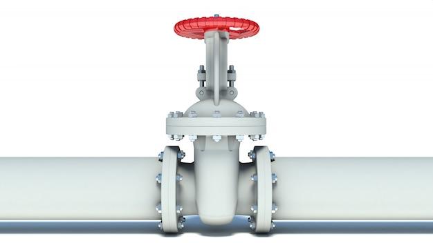 Водопровод с клапаном на белом фоне