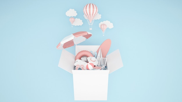 The water play equipment in the box and balloon on blue background - 3d illustration