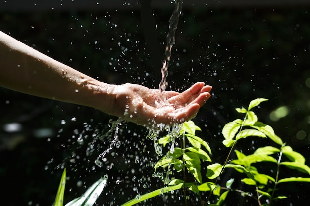 Water pouring in woman hand on nature background, environment issues.