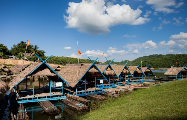 Water rafting with cloud blue sky in river mountain, cottage rafts