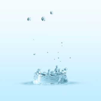 Water splash on a blue wallpaper