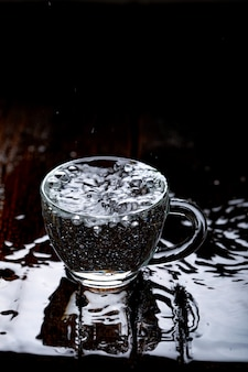 Water splash in glass cup