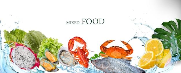 Water splash with mixed food, fresh food