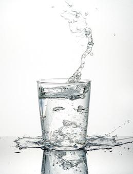 ガラスから水しぶき