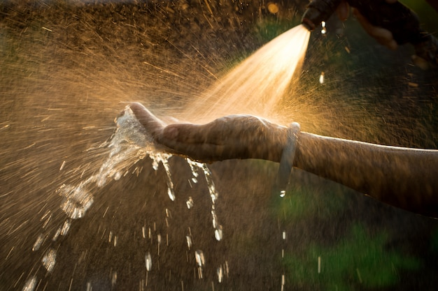 Water spray hands on