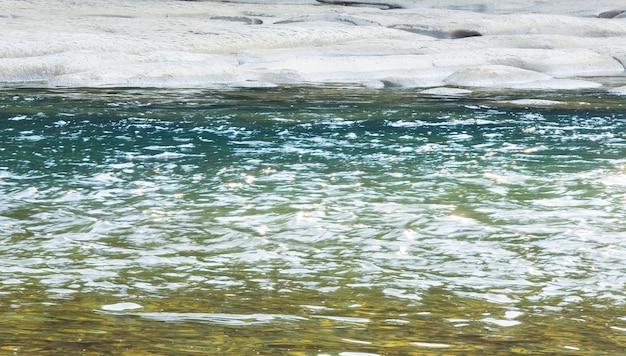 銀行による泡のある小川の水面(クローズアップ)。