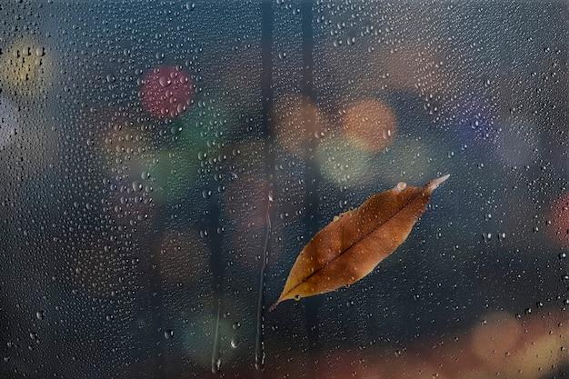 水の質感の背景、ガラス窓に茶色の葉