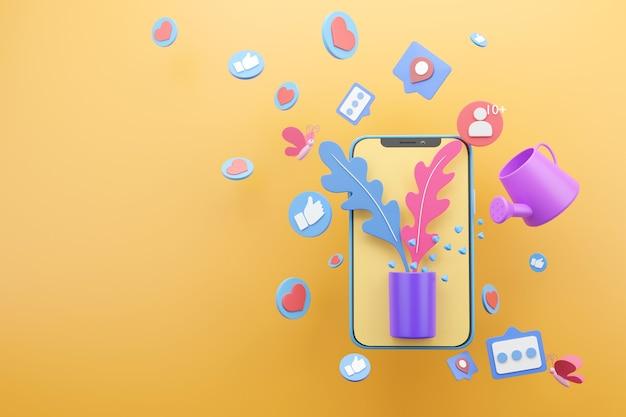 Поливайте растения лейкой, чтобы делиться историями в социальных сетях на желтом фоне, 3d визуализация
