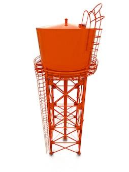 Водяная башня. 3d иллюстрации. изолированные на белом фоне. резервуар для водных ресурсов и промышленная водонапорная башня с высокой металлической конструкцией.