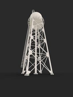 Водяная башня. 3d иллюстрации. изолированные на белом фоне. резервуар водных ресурсов и промышленная водонапорная башня с высокой металлической конструкцией.