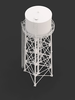 Water tower. 3d illustration. isolated on white background. watery resource reservoir and industrial high metal structure container water-tower.