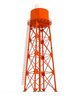 Water tower 3d illustration on white background watery resource reservoir