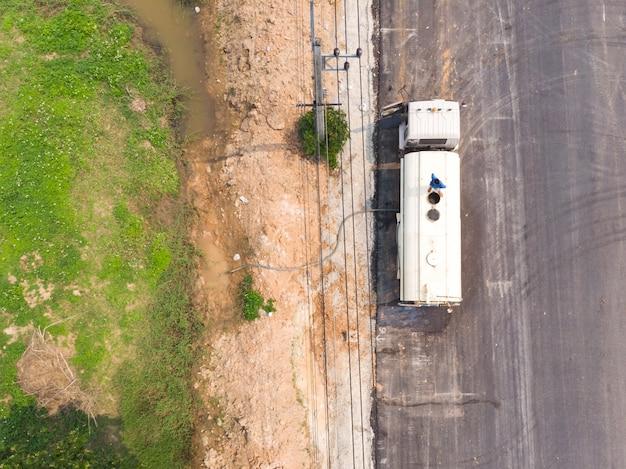 Water truck refilling tank