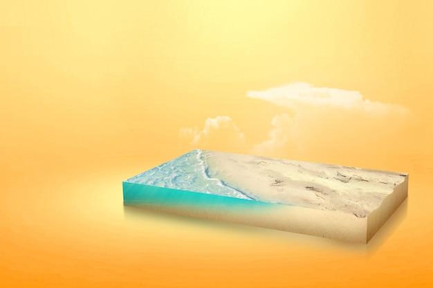 모래 해변에 물 파도입니다. 환경 개념
