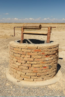 Water well in the steppe of kazakhstan, ancient city sawran or sauran.