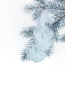 Water white background acrylic inside branch christmas tree winter