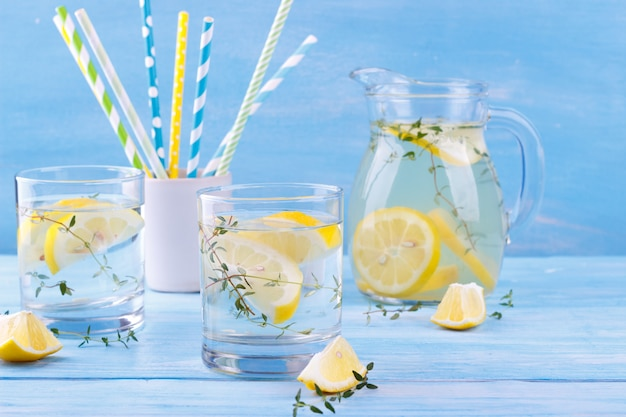 Water with lemon and thyme