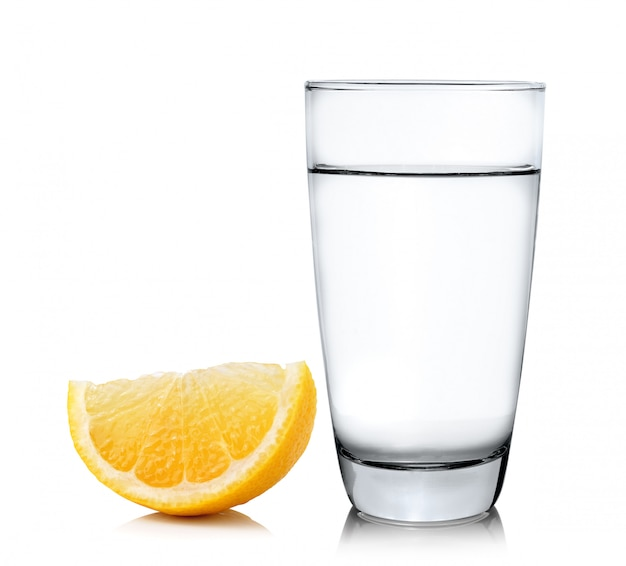 Water with lemon on white space