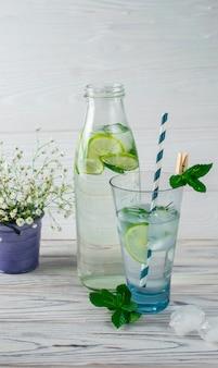 ライム、レモン、氷と水