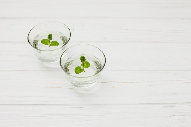 Water with mint in glasses on table
