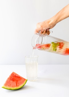 Water with slices of seedless watermelon