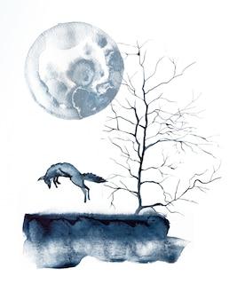 Watercolo fox and moon illustration