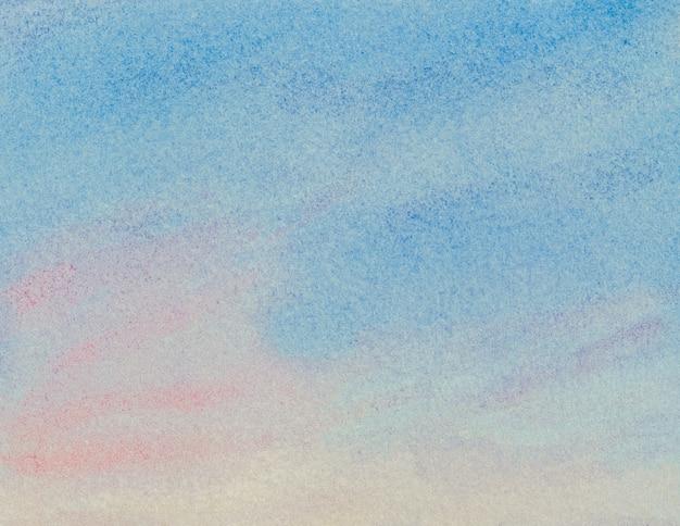 파란색에서 빨간색 그라디언트 색상의 수채화 추상적 인 배경. 손으로 그린 수채화 그림.