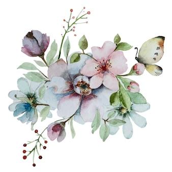 水彩の抽象的な花の構成。白い背景で隔離の花の花束。