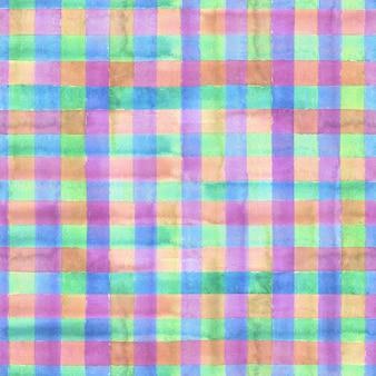 水彩の抽象的な幾何学的なギンガムチェックのシームレスなパターン。水彩カラフルな青、ターコイズ、ピンク、赤、オレンジ、黄色、緑、紫の流行の背景。