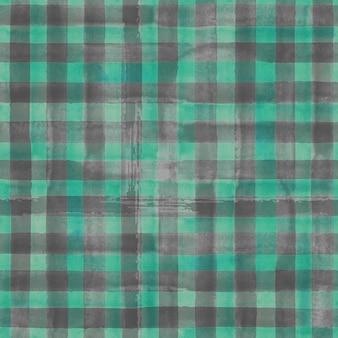 水彩の抽象的な幾何学的なギンガムチェックのシームレスなパターン。水彩画の緑と灰色の流行の背景。 Premium写真