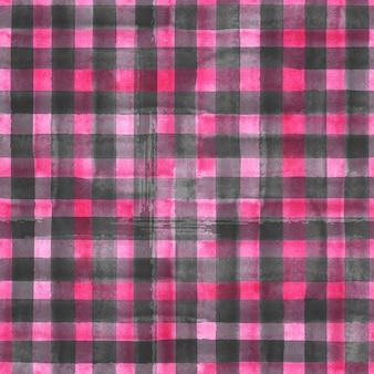水彩の抽象的な幾何学的なギンガムチェックのシームレスなパターン。水彩ピンクとグレーの流行の背景。